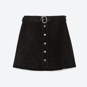 ✨ZARA✨ Leather Suede 70's Skirt